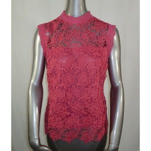 Nanette Lepore Pink Top Small NWT Lace Zip